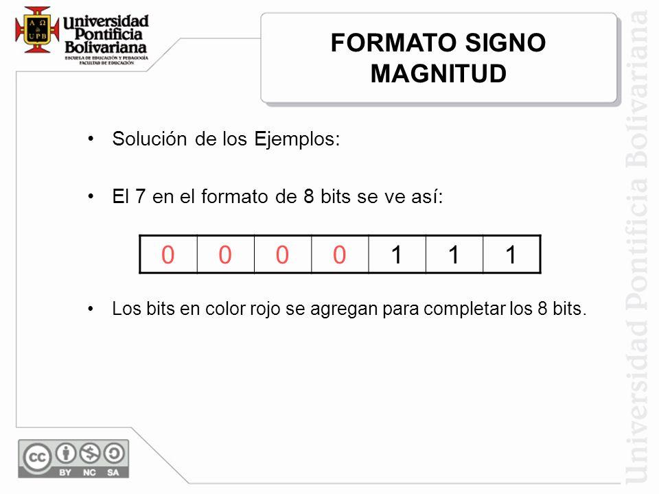 Solución de los Ejemplos: El 7 en el formato de 8 bits se ve así: 0000111 Los bits en color rojo se agregan para completar los 8 bits. FORMATO SIGNO M