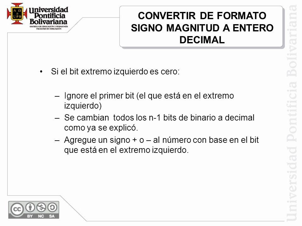 Si el bit extremo izquierdo es cero: –Ignore el primer bit (el que está en el extremo izquierdo) –Se cambian todos los n-1 bits de binario a decimal c