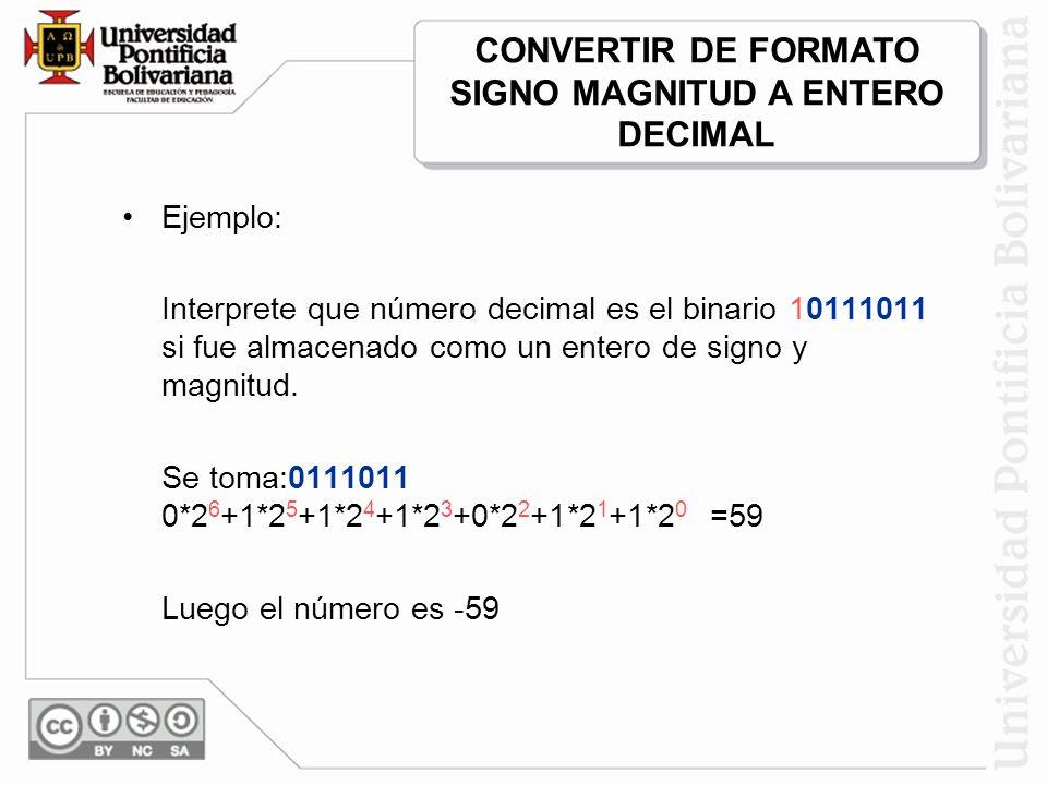 Ejemplo: Interprete que número decimal es el binario 10111011 si fue almacenado como un entero de signo y magnitud. Se toma:0111011 0*2 6 +1*2 5 +1*2