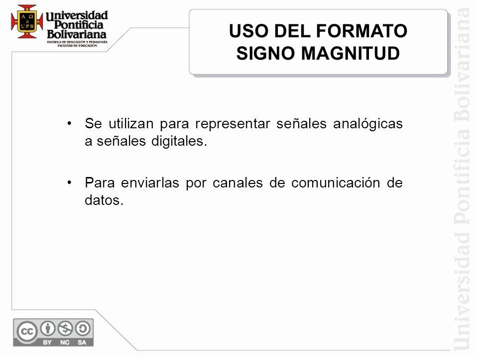 Se utilizan para representar señales analógicas a señales digitales. Para enviarlas por canales de comunicación de datos. USO DEL FORMATO SIGNO MAGNIT