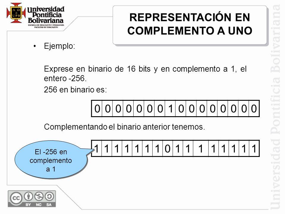 Ejemplo: Exprese en binario de 16 bits y en complemento a 1, el entero -256. 256 en binario es: 0000000100000000 Complementando el binario anterior te