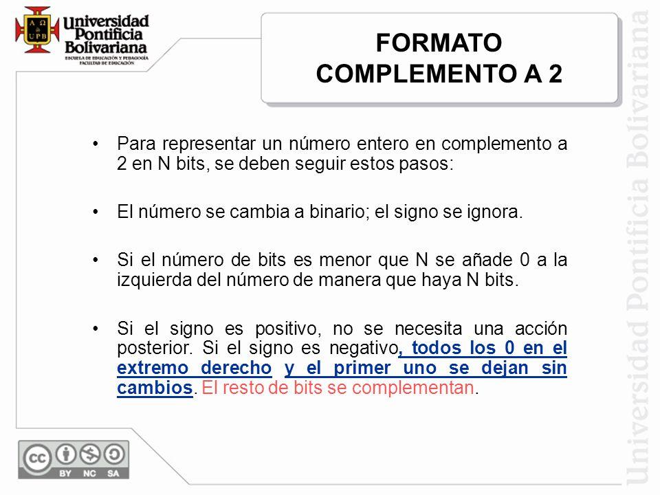 Para representar un número entero en complemento a 2 en N bits, se deben seguir estos pasos: El número se cambia a binario; el signo se ignora. Si el