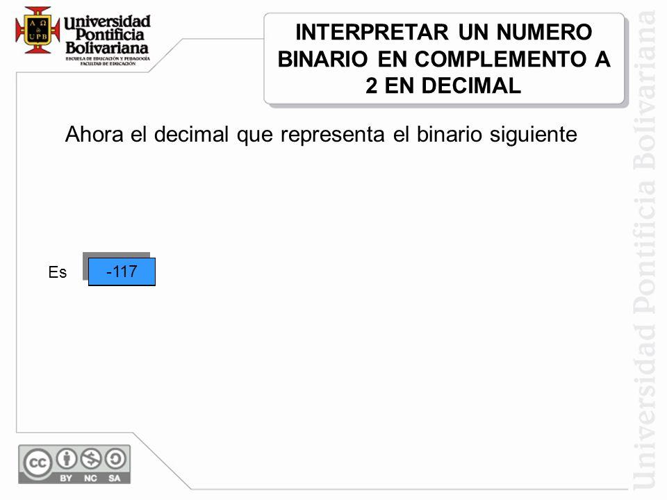 -53 Ahora el decimal que representa el binario siguiente 1 -5 01 01 1 10 + 1 0 + 40 16 32 640 ++ + ++ Es -21 -117 INTERPRETAR UN NUMERO BINARIO EN COM