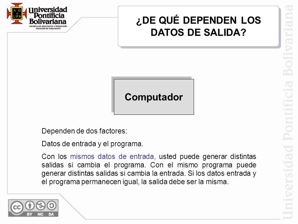 3,12, 8, 22 22,12,8,3 Dependen de dos factores: Datos de entrada y el programa. Con los mismos datos de entrada, usted puede generar distintas salidas