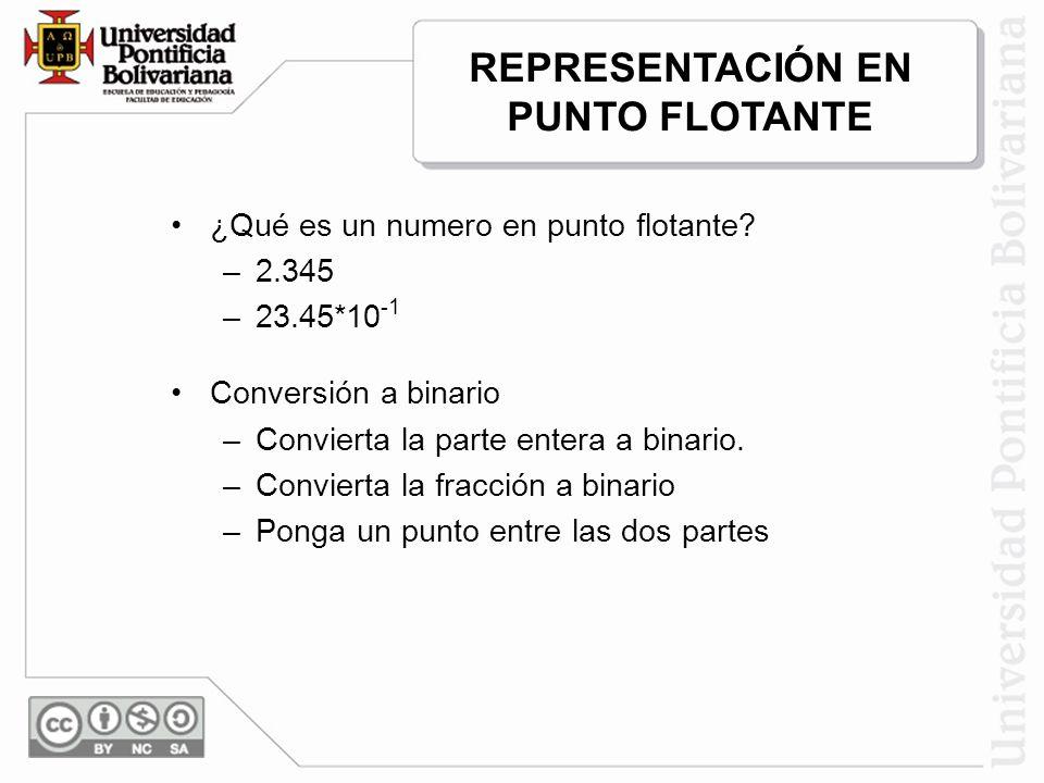 ¿Qué es un numero en punto flotante? –2.345 –23.45*10 -1 Conversión a binario –Convierta la parte entera a binario. –Convierta la fracción a binario –