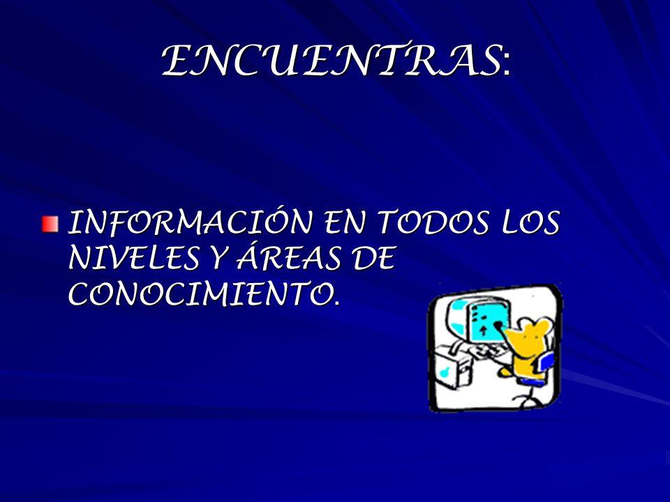 ENCUENTRAS : INFORMACIÓN EN TODOS LOS NIVELES Y ÁREAS DE CONOCIMIENTO.