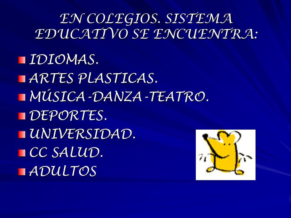 EN COLEGIOS. SISTEMA EDUCATIVO SE ENCUENTRA: IDIOMAS. ARTES PLASTICAS. MÚSICA-DANZA-TEATRO.DEPORTES.UNIVERSIDAD. CC SALUD. ADULTOS