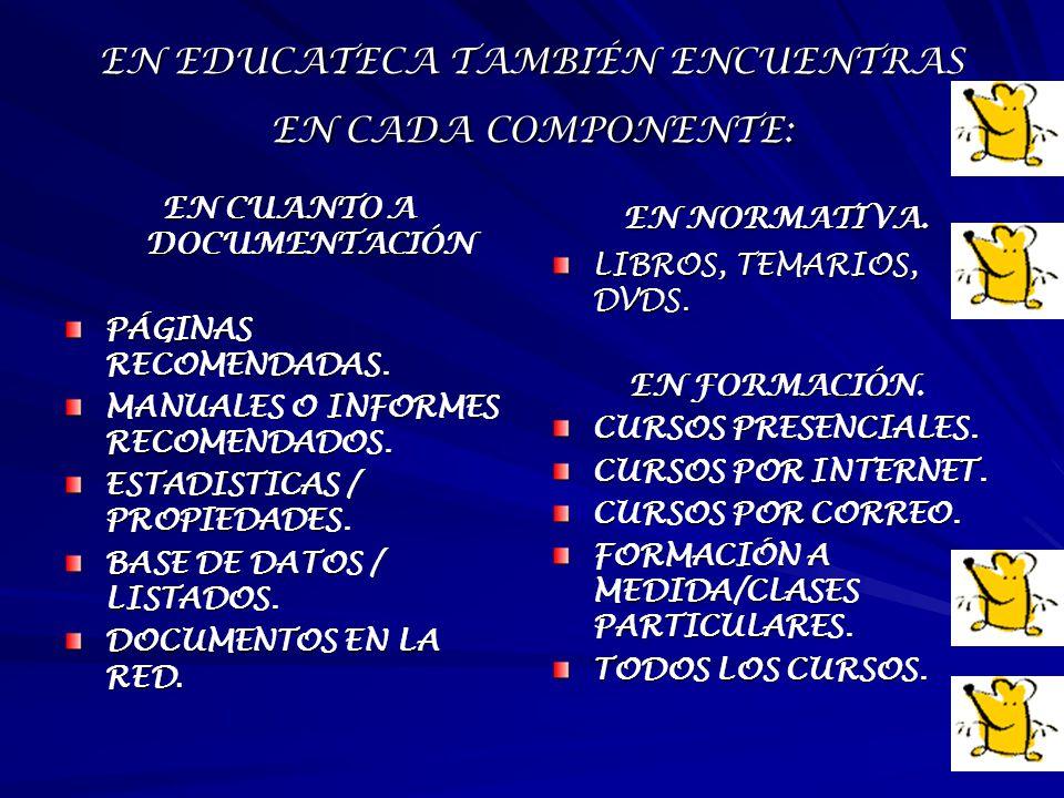 EN EDUCATECA TAMBIÉN ENCUENTRAS EN CADA COMPONENTE: EN CUANTO A DOCUMENTACIÓN PÁGINAS RECOMENDADAS. MANUALES O INFORMES RECOMENDADOS. ESTADISTICAS / P