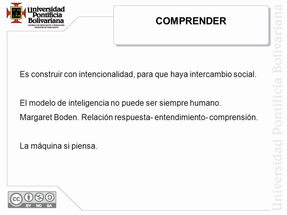 Es construir con intencionalidad, para que haya intercambio social. El modelo de inteligencia no puede ser siempre humano. Margaret Boden. Relación re
