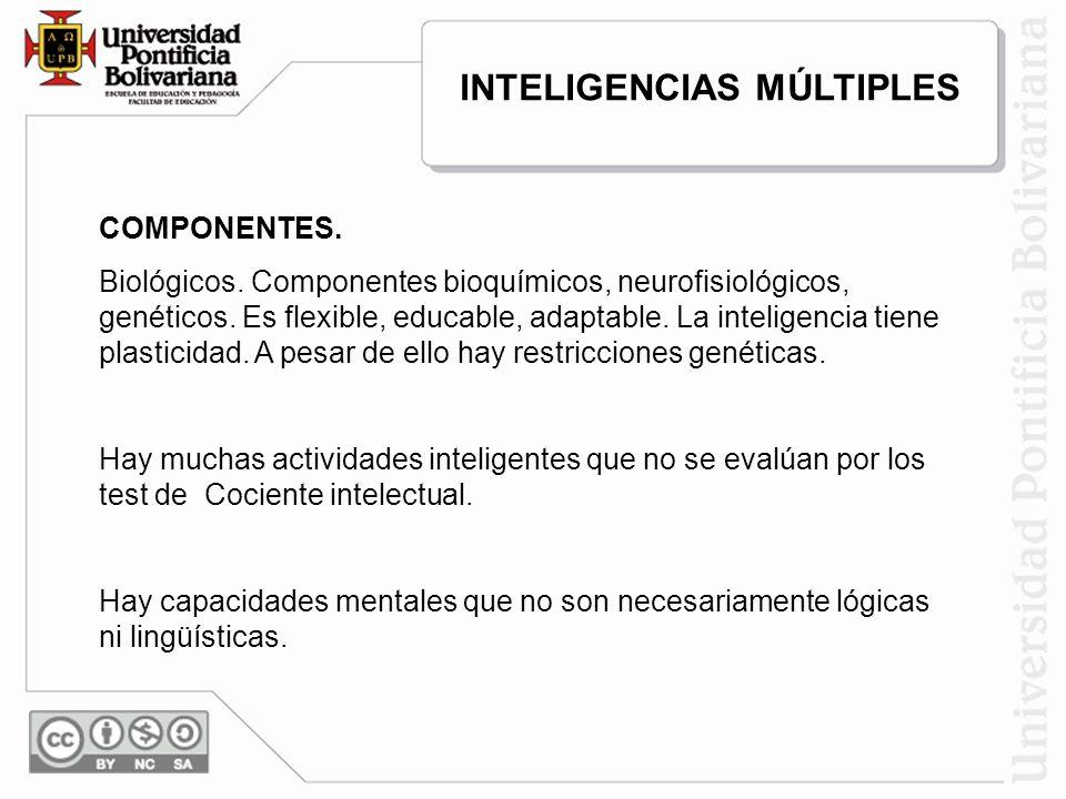COMPONENTES. Biológicos. Componentes bioquímicos, neurofisiológicos, genéticos. Es flexible, educable, adaptable. La inteligencia tiene plasticidad. A