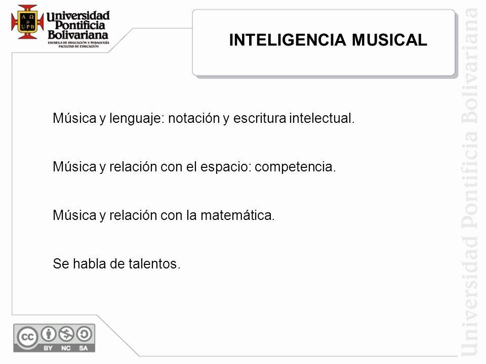 Música y lenguaje: notación y escritura intelectual. Música y relación con el espacio: competencia. Música y relación con la matemática. Se habla de t