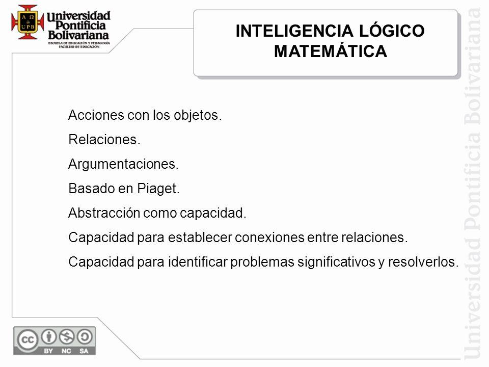 Acciones con los objetos. Relaciones. Argumentaciones. Basado en Piaget. Abstracción como capacidad. Capacidad para establecer conexiones entre relaci