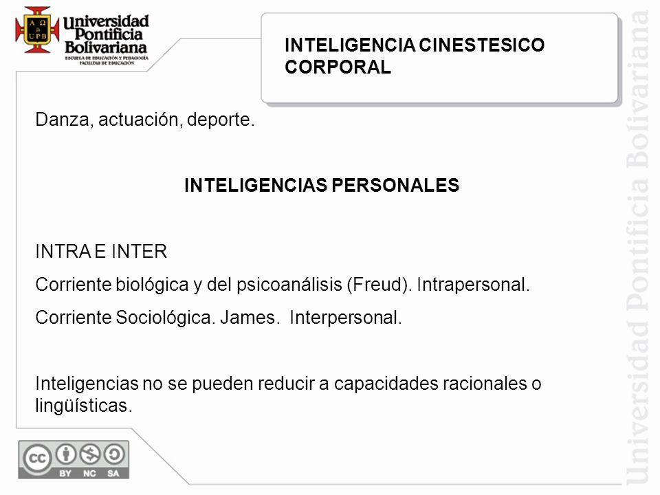 Danza, actuación, deporte. INTELIGENCIAS PERSONALES INTRA E INTER Corriente biológica y del psicoanálisis (Freud). Intrapersonal. Corriente Sociológic