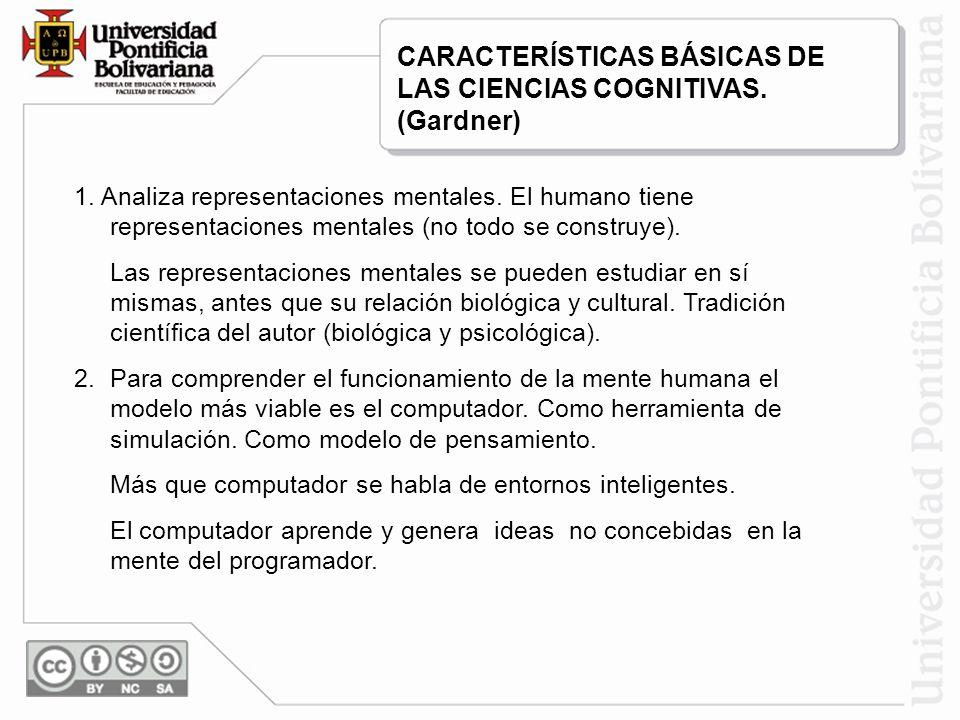 1. Analiza representaciones mentales. El humano tiene representaciones mentales (no todo se construye). Las representaciones mentales se pueden estudi