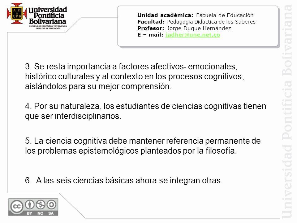 3. Se resta importancia a factores afectivos- emocionales, histórico culturales y al contexto en los procesos cognitivos, aislándolos para su mejor co