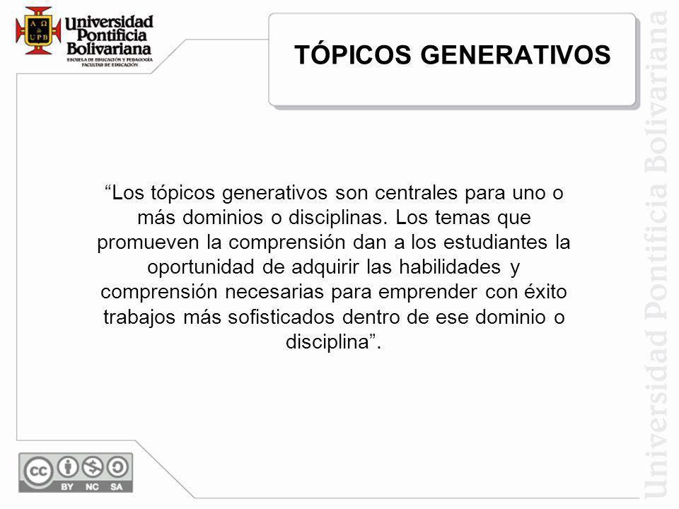 TÓPICOS GENERATIVOS Los tópicos generativos son centrales para uno o más dominios o disciplinas. Los temas que promueven la comprensión dan a los estu