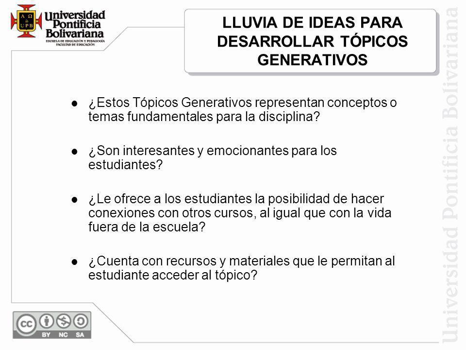 LLUVIA DE IDEAS PARA DESARROLLAR TÓPICOS GENERATIVOS ¿Estos Tópicos Generativos representan conceptos o temas fundamentales para la disciplina? ¿Son i