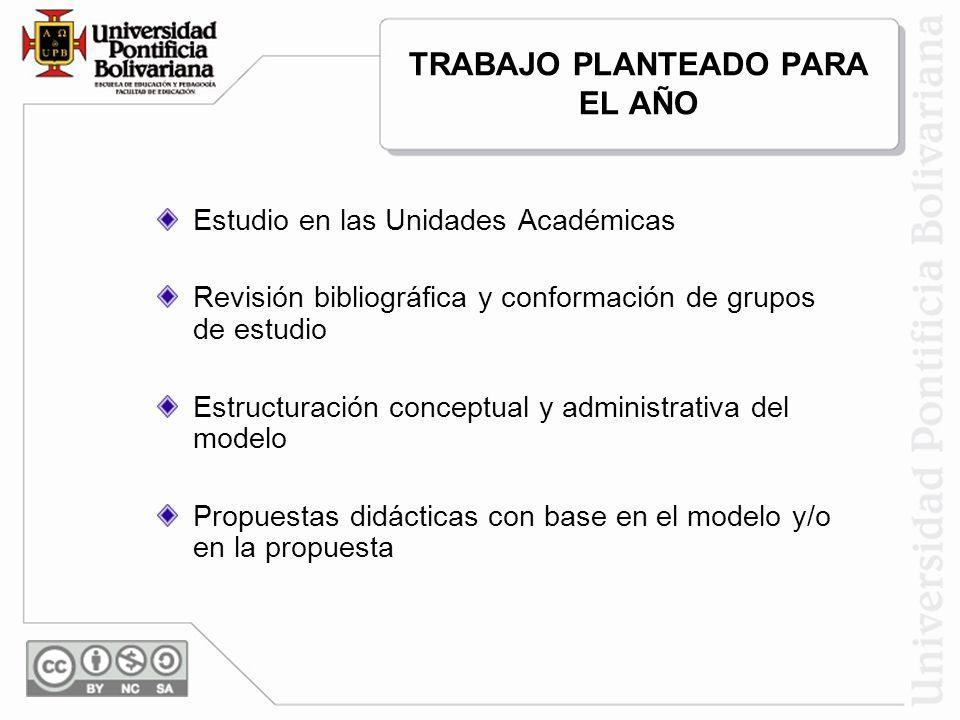 TRABAJO PLANTEADO PARA EL AÑO Estudio en las Unidades Académicas Revisión bibliográfica y conformación de grupos de estudio Estructuración conceptual