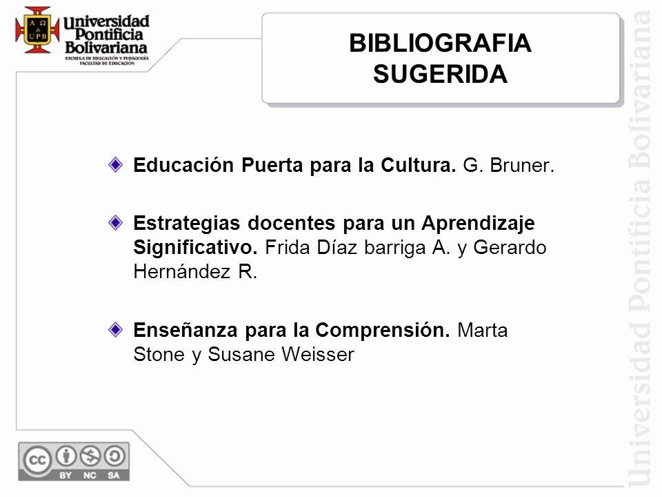 BIBLIOGRAFIA SUGERIDA Educación Puerta para la Cultura. G. Bruner. Estrategias docentes para un Aprendizaje Significativo. Frida Díaz barriga A. y Ger