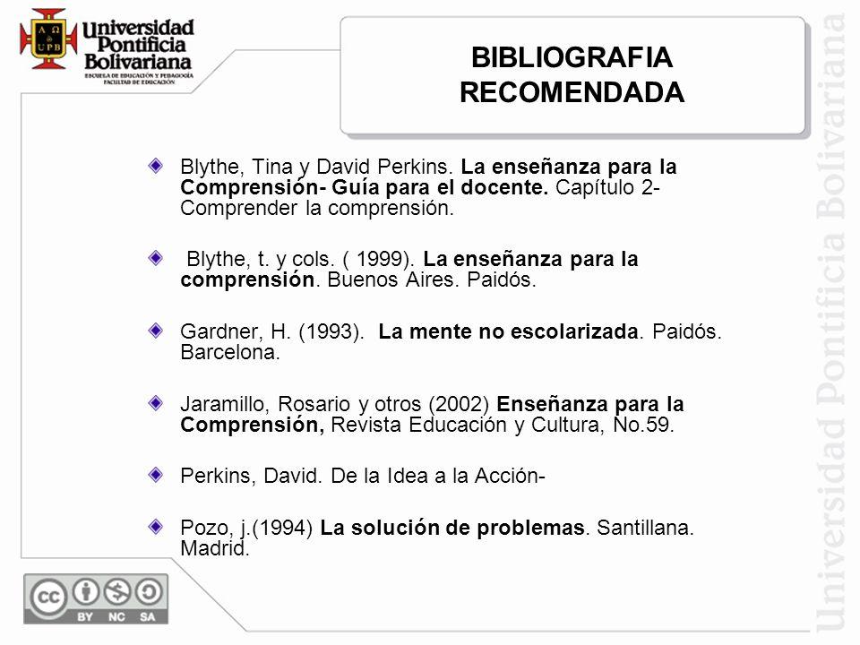 BIBLIOGRAFIA RECOMENDADA Blythe, Tina y David Perkins. La enseñanza para la Comprensión- Guía para el docente. Capítulo 2- Comprender la comprensión.