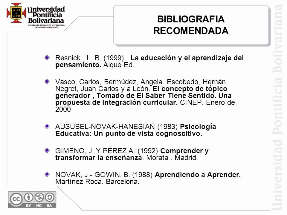 Resnick, L. B. (1999). La educación y el aprendizaje del pensamiento. Aique Ed. Vasco, Carlos, Bermúdez, Angela. Escobedo, Hernán. Negret, Juan Carlos