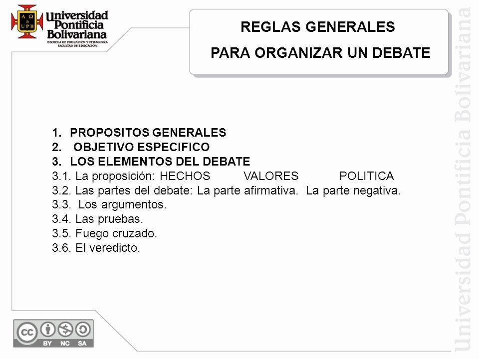1.PROPOSITOS GENERALES 2. OBJETIVO ESPECIFICO 3.LOS ELEMENTOS DEL DEBATE 3.1. La proposición: HECHOS VALORES POLITICA 3.2. Las partes del debate: La p