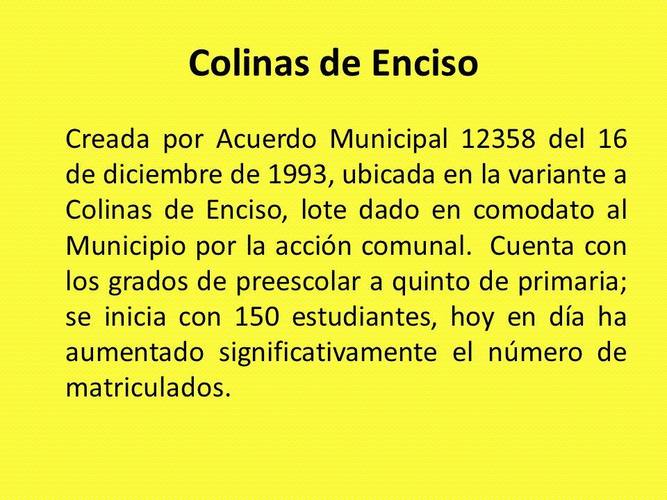 Colinas de Enciso Creada por Acuerdo Municipal 12358 del 16 de diciembre de 1993, ubicada en la variante a Colinas de Enciso, lote dado en comodato al