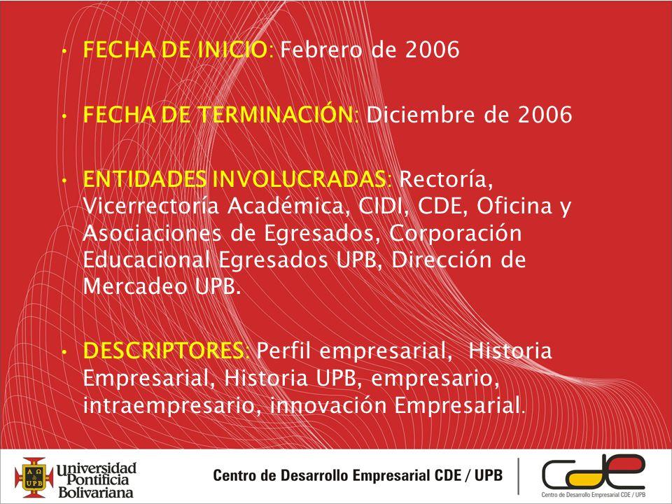 FECHA DE INICIO: Febrero de 2006 FECHA DE TERMINACIÓN: Diciembre de 2006 ENTIDADES INVOLUCRADAS: Rectoría, Vicerrectoría Académica, CIDI, CDE, Oficina y Asociaciones de Egresados, Corporación Educacional Egresados UPB, Dirección de Mercadeo UPB.