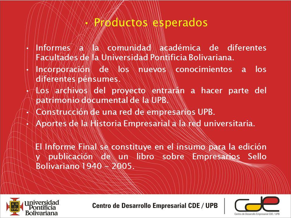 Productos esperados Informes a la comunidad académica de diferentes Facultades de la Universidad Pontificia Bolivariana.