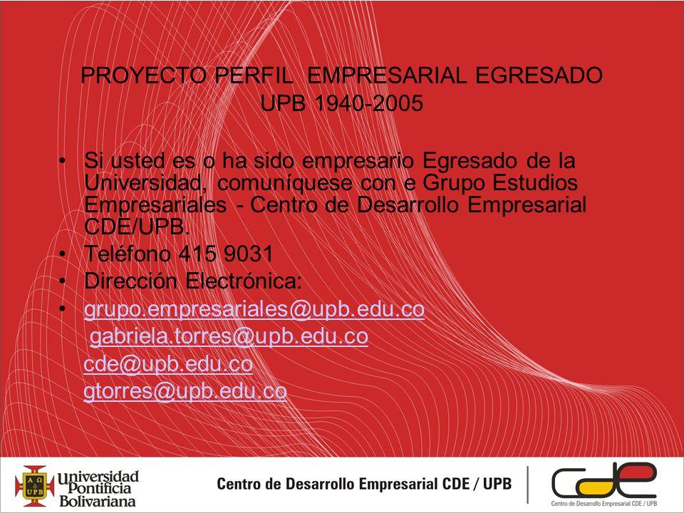 PROYECTO PERFIL EMPRESARIAL EGRESADO UPB 1940-2005 Si usted es o ha sido empresario Egresado de la Universidad, comuníquese con e Grupo Estudios Empresariales - Centro de Desarrollo Empresarial CDE/UPB.