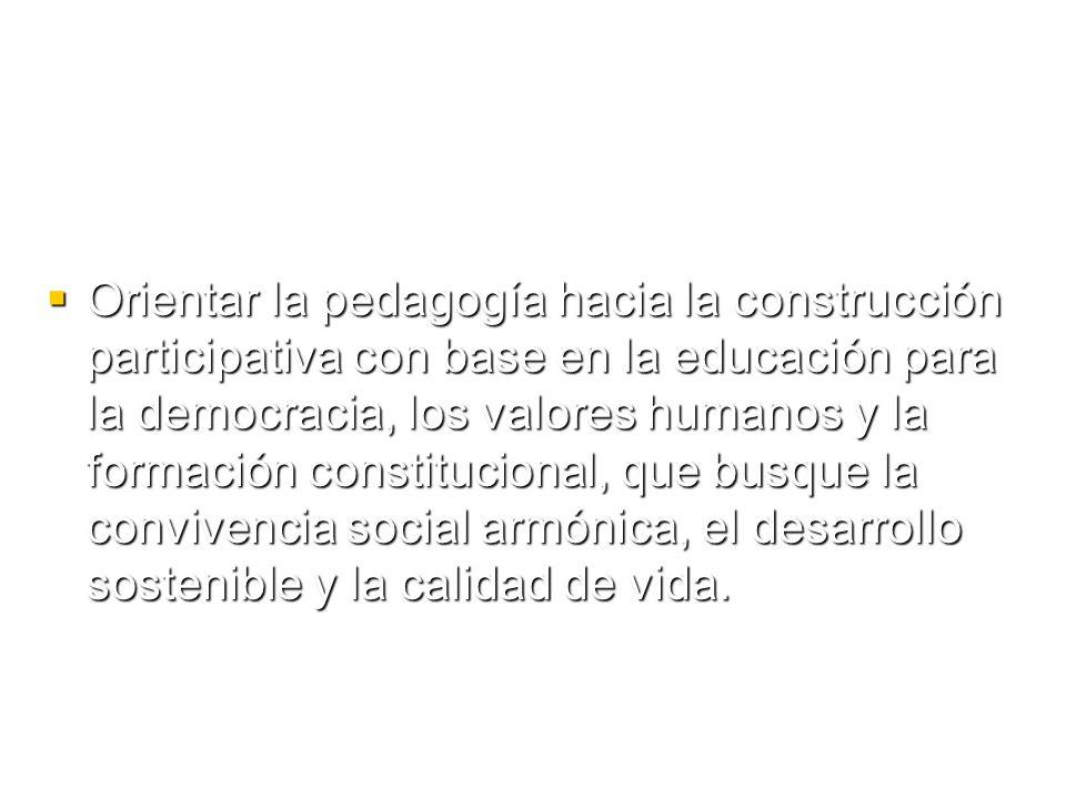 Orientar la pedagogía hacia la construcción participativa con base en la educación para la democracia, los valores humanos y la formación constitucional, que busque la convivencia social armónica, el desarrollo sostenible y la calidad de vida.