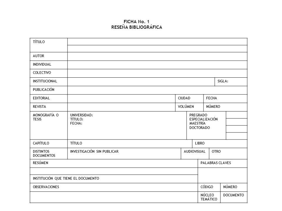 FICHA No. 1 RESEÑA BIBLIOGRÁFICA TÍTULO AUTOR INDIVIDUAL COLECTIVO INSTITUCIONALSIGLA: PUBLICACIÓN EDITORIALCIUDADFECHA REVISTAVOLÚMENNÚMERO MONOGRAFÍ