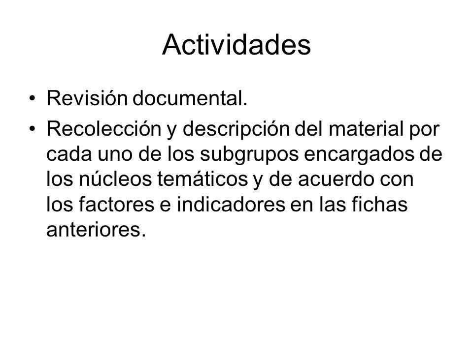 Actividades Revisión documental. Recolección y descripción del material por cada uno de los subgrupos encargados de los núcleos temáticos y de acuerdo