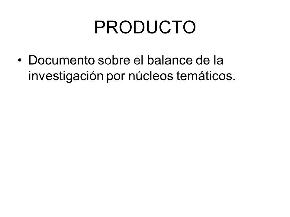 PRODUCTO Documento sobre el balance de la investigación por núcleos temáticos.