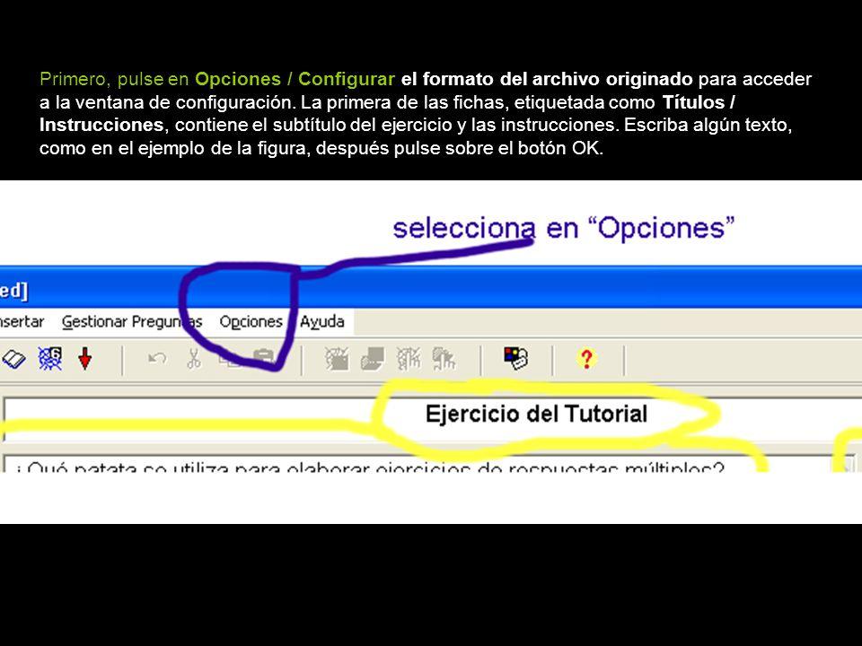 Primero, pulse en Opciones / Configurar el formato del archivo originado para acceder a la ventana de configuración.