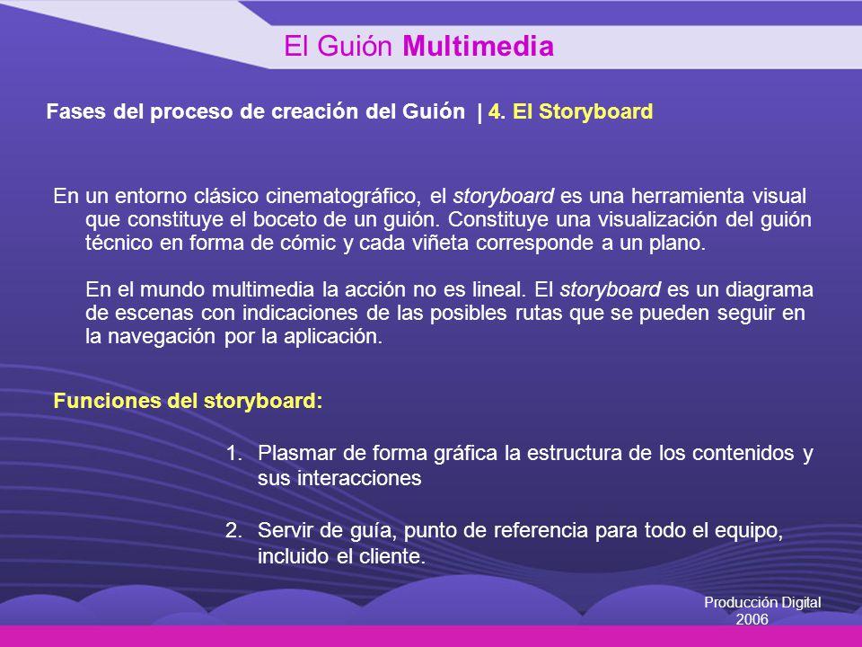 Producción Digital 2006 Fases del proceso de creación del Guión | 4. El Storyboard En un entorno clásico cinematográfico, el storyboard es una herrami