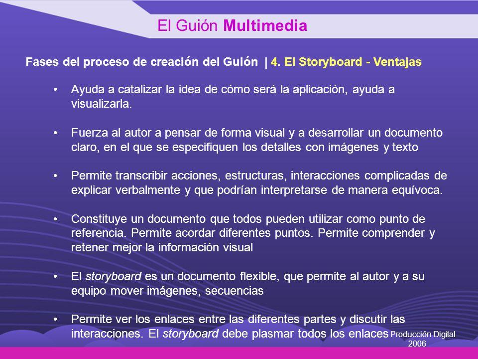 Producción Digital 2006 Fases del proceso de creación del Guión | 4. El Storyboard - Ventajas Ayuda a catalizar la idea de cómo será la aplicación, ay