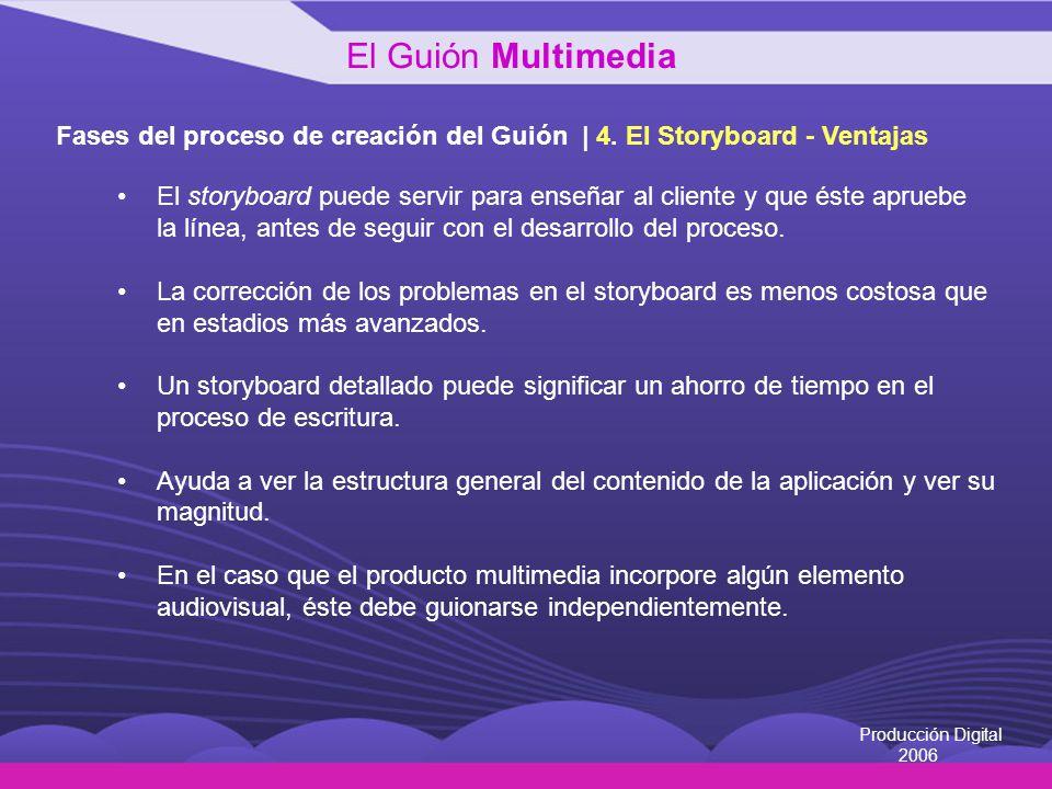 Producción Digital 2006 Fases del proceso de creación del Guión | 4. El Storyboard - Ventajas El storyboard puede servir para enseñar al cliente y que