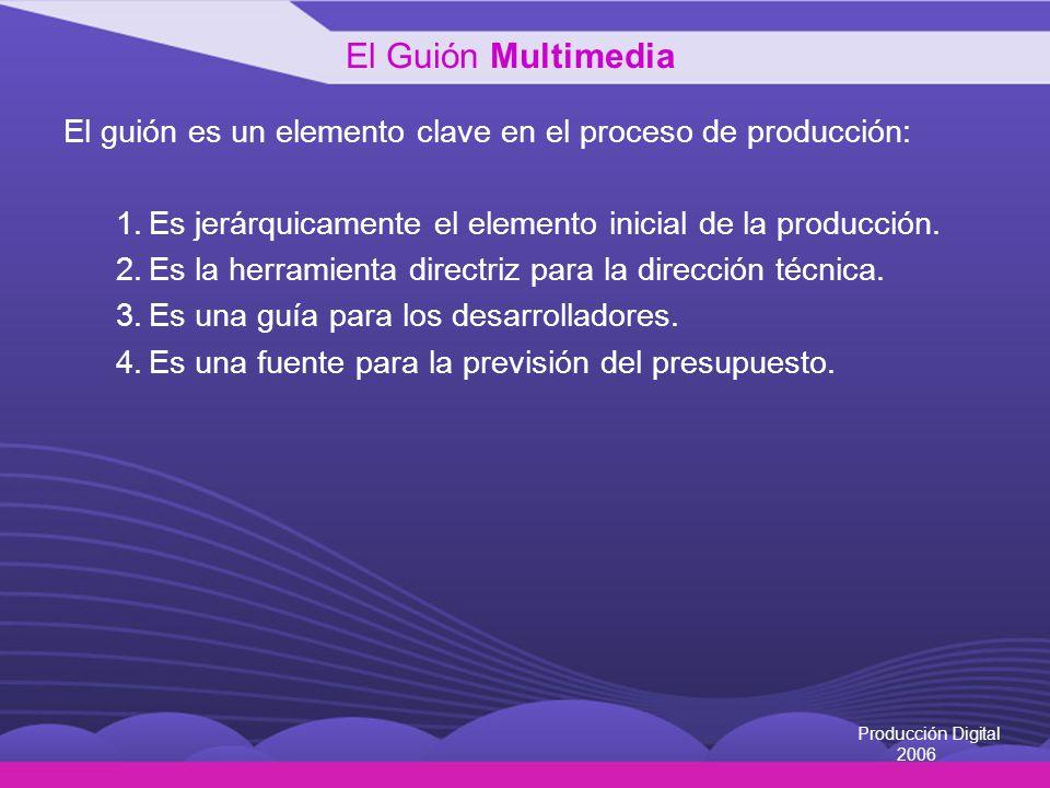 Producción Digital 2006 Principios generales para la elaboración de un guión multimedia Organización: En un guión multimedia el contenido o tema debe estar muy bien organizado para que la información sea fácilmente asimilable.