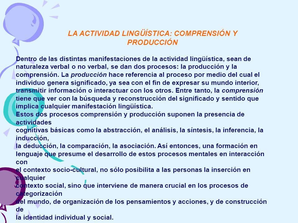 LA ACTIVIDAD LINGÜÍSTICA: COMPRENSIÓN Y PRODUCCIÓN Dentro de las distintas manifestaciones de la actividad lingüística, sean de naturaleza verbal o no verbal, se dan dos procesos: la producción y la comprensión.