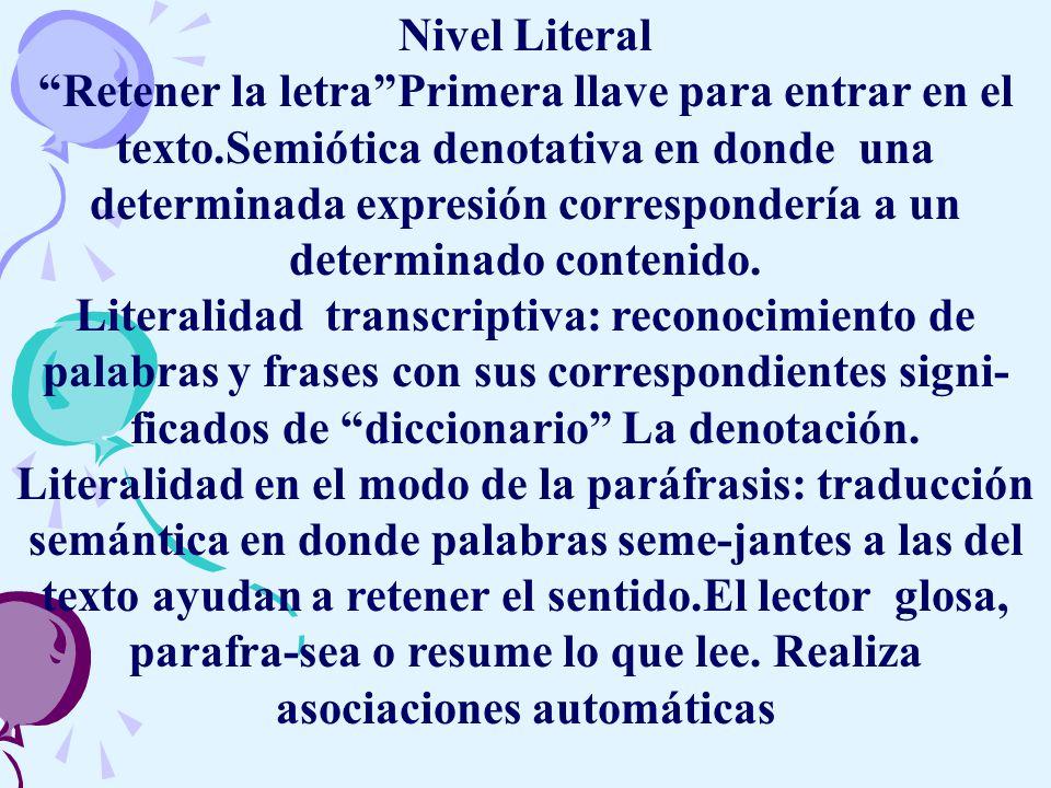 Nivel Literal Retener la letraPrimera llave para entrar en el texto.Semiótica denotativa en donde una determinada expresión correspondería a un determinado contenido.