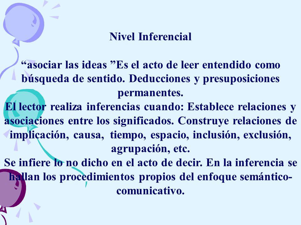 Nivel Inferencial asociar las ideas Es el acto de leer entendido como búsqueda de sentido.