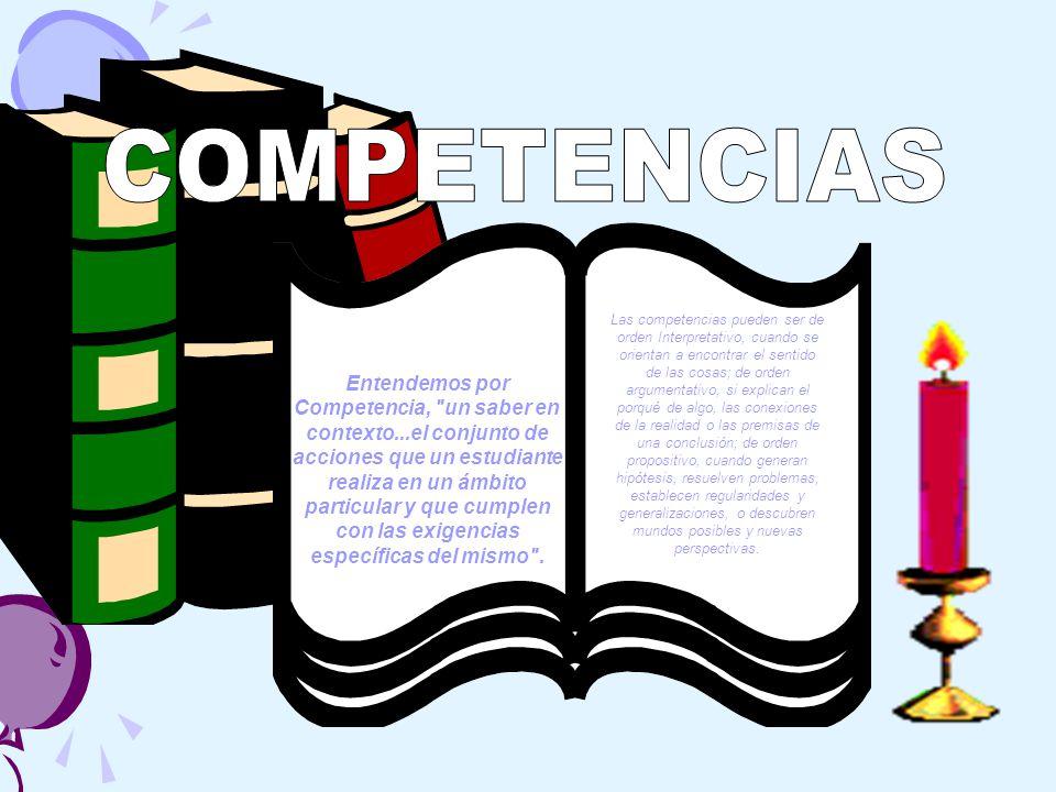 Entendemos por Competencia, un saber en contexto...el conjunto de acciones que un estudiante realiza en un ámbito particular y que cumplen con las exigencias específicas del mismo .