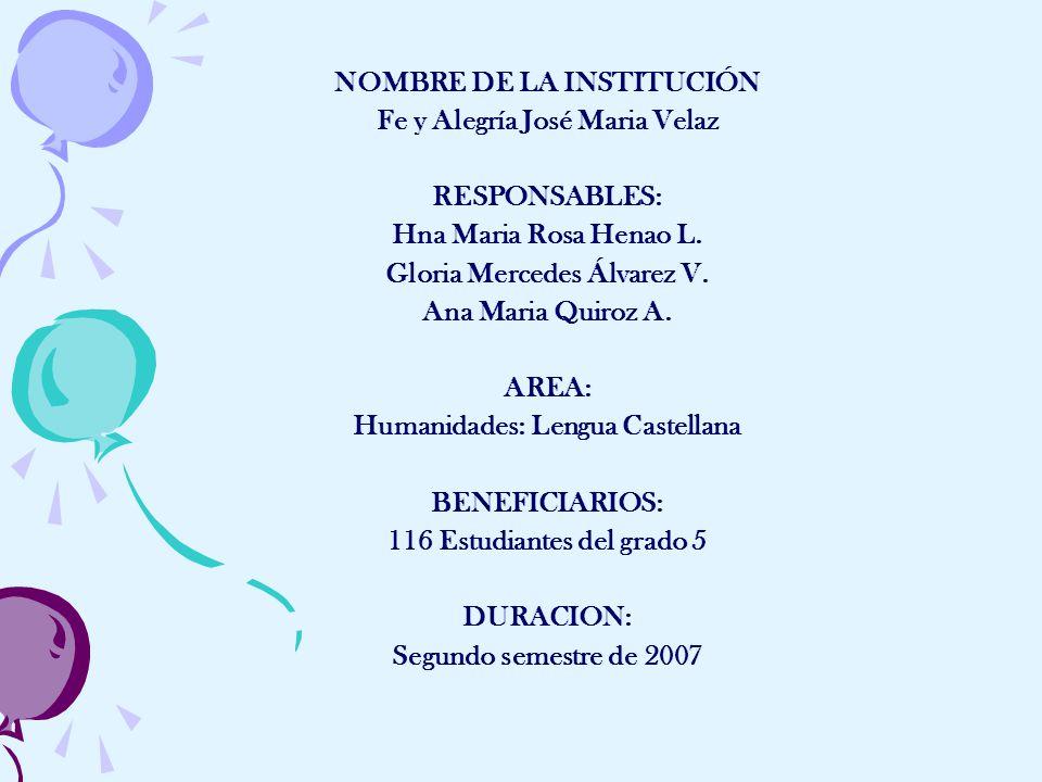 NOMBRE DE LA INSTITUCIÓN Fe y Alegría José Maria Velaz RESPONSABLES: Hna Maria Rosa Henao L.