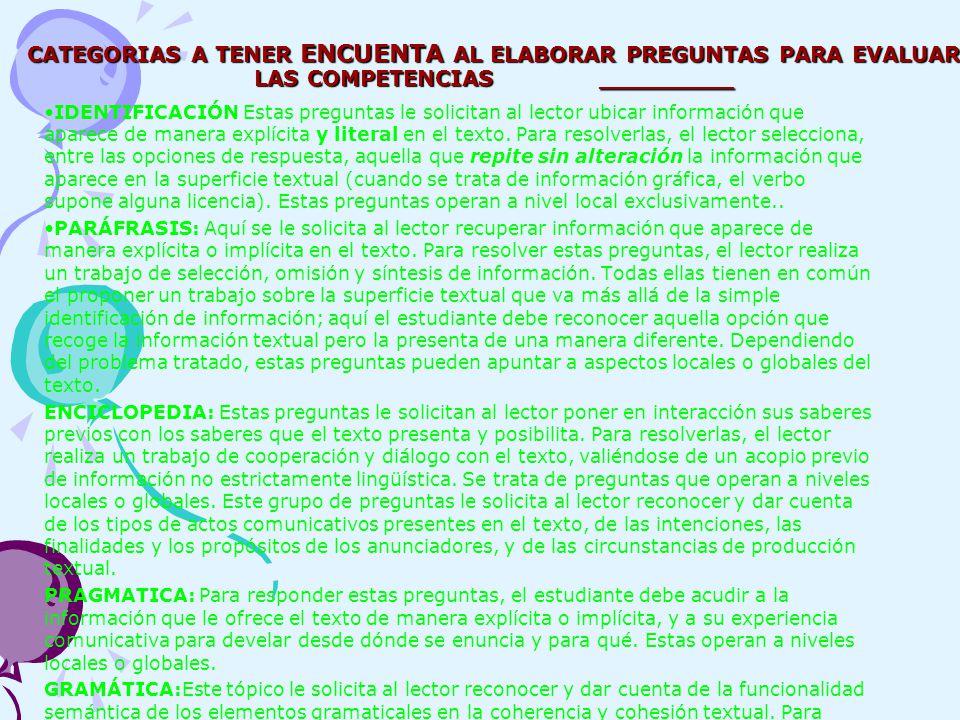 CATEGORIAS A TENER ENCUENTA AL ELABORAR PREGUNTAS PARA EVALUAR LAS COMPETENCIAS _________ IDENTIFICACIÓN Estas preguntas le solicitan al lector ubicar información que aparece de manera explícita y literal en el texto.