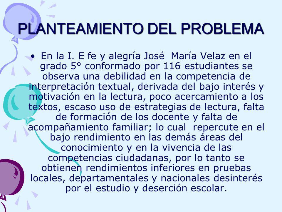 PLANTEAMIENTO DEL PROBLEMA En la I.
