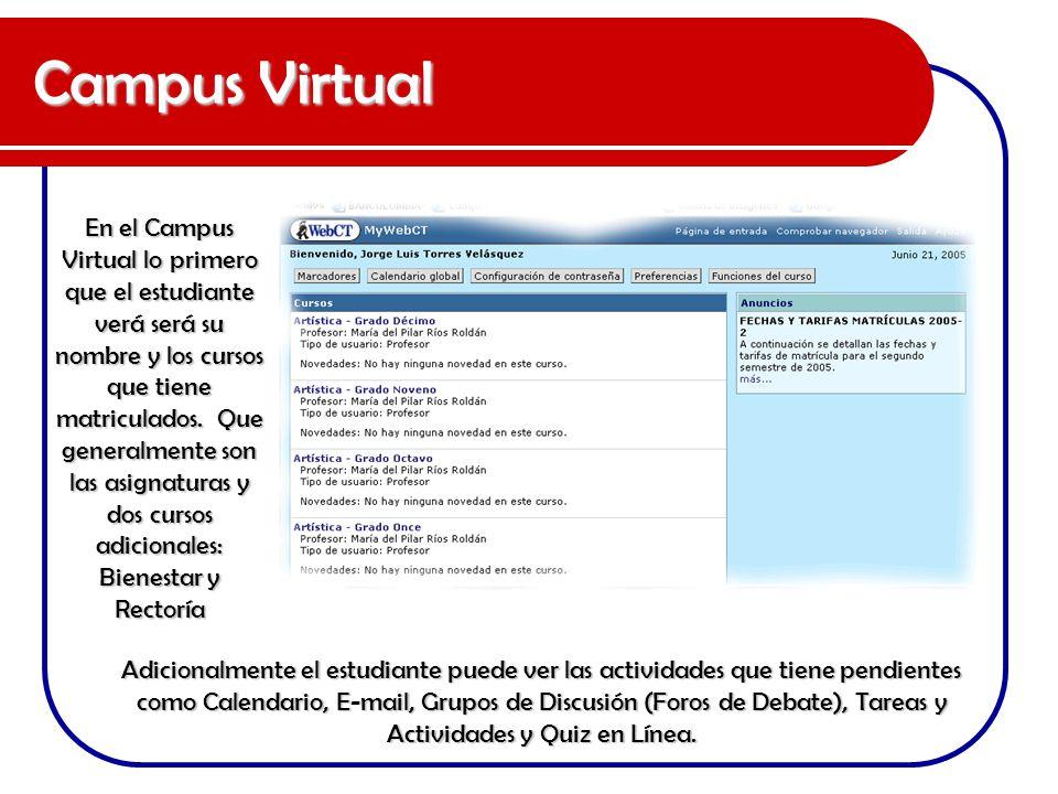 Campus Virtual Adicionalmente el estudiante puede ver las actividades que tiene pendientes como Calendario, E-mail, Grupos de Discusión (Foros de Deba