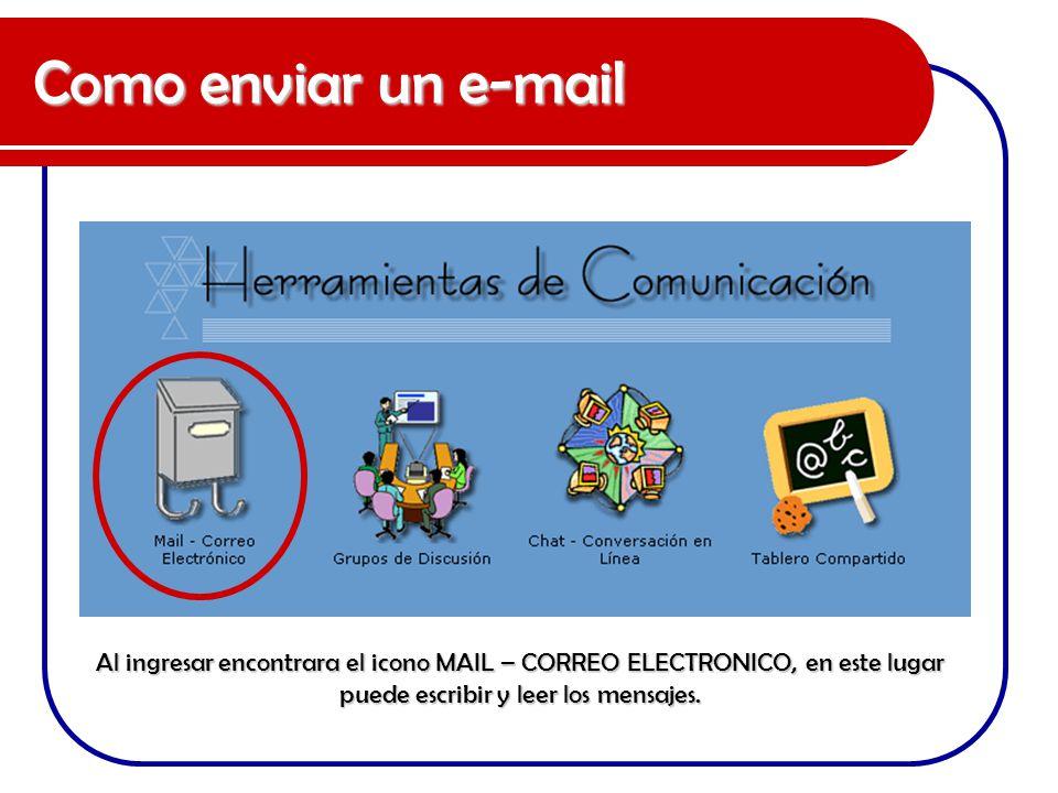 Como enviar un e-mail Al ingresar encontrara el icono MAIL – CORREO ELECTRONICO, en este lugar puede escribir y leer los mensajes.