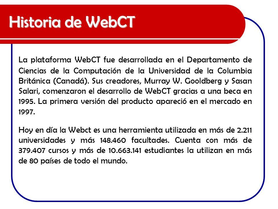 Historia de WebCT La plataforma WebCT fue desarrollada en el Departamento de Ciencias de la Computación de la Universidad de la Columbia Británica (Ca