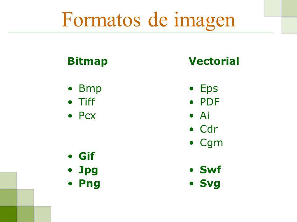 Formatos de imagen Bitmap Bmp Tiff Pcx Gif Jpg Png Vectorial Eps PDF Ai Cdr Cgm Swf Svg